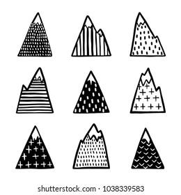 Hand drawn mountains set. Scandinavian style cute drawing design elements for prints, textile design, cards, home decor. Monochrome vector illustration.