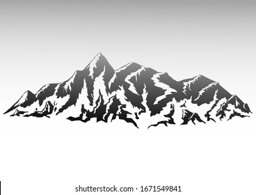 hand drawn mountains silhouettes for high mountain icon, vector illustra
