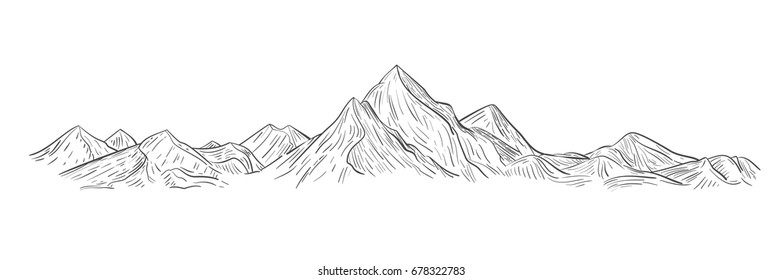 Hand drawn mountains sketch in engraving style.  Vector illustration.