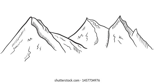 Hand drawn Mountains sketch landscape. Vector illustration