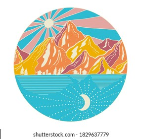 Hand drawn mountains with sun and moon. Line art landscape vector illustration in circle. Blue, yellow and pink art in doodling style.