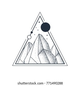 Hand drawn mountains textured vector illustration in a triangle. Geometric style.