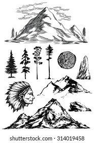 Hand drawn mountains trees rock indian chief head vector illustrations