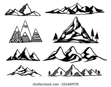 Hand Drawn mountains vector illustration set for decoration, t-shirt graphics, identity card.