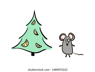 Hand drawn mouse. Zodiac sign Rat in Happy New Year. Cute mouse. Animal wildlife cartoon character. Mouse animal, rat rodent vector illustration. Grey  little mice symbol 2020.