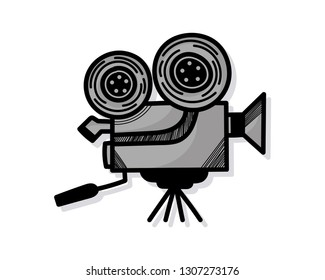 hand drawn movie camera or camera film on white background