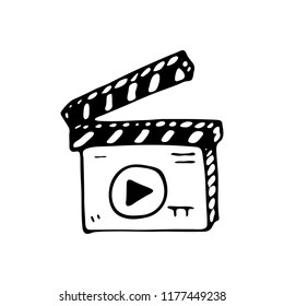 Hand drawn Movie Clapper Board doodle icon. Hand drawn black sketch. Sign symbol. Decoration element. White background. Isolated. Flat design. Vector illustration.
