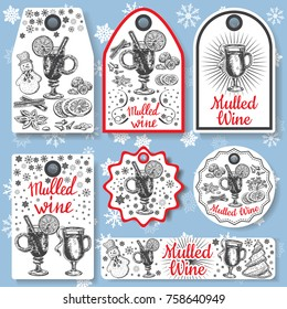 Hand drawn mulled wine vector gift tags set. Black and white sketch badges and logo with wine glass. Menu cards design templates in retro vintage style.