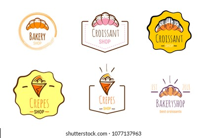 Hand drawn multicolor logos of crepes and croissants. Doodle vector illustration.
