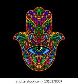 Hand drawn multicolor Ornate amulet Hamsa Hand of Fatima. Ethnic amulet common in Indian, Arabic and Jewish cultures. Bohho style