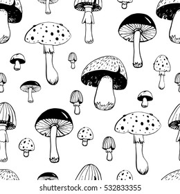 Hand drawn mushroom seamless pattern for wallpaper and wrapping. Vegetarian natural food pattern. Vector illustration.