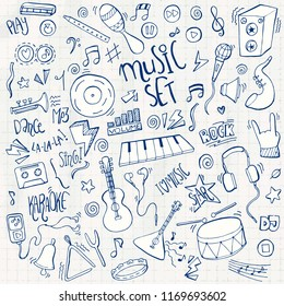 Hand drawn music doodle icons set. Vector illustration.