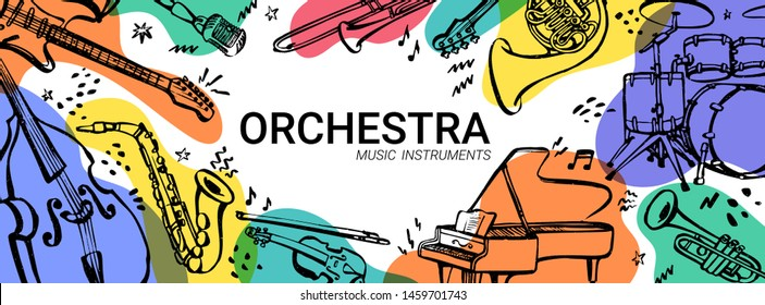 Hand drawn music instruments. Orcestra. Horizontal banner or cover for social media. Ink style vector illustration with watercolor stains on white background