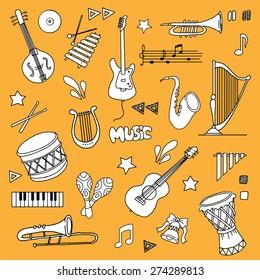 Hand drawn Music items set, Vector illustration