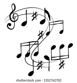 hand drawn music note elemnt doodle vector