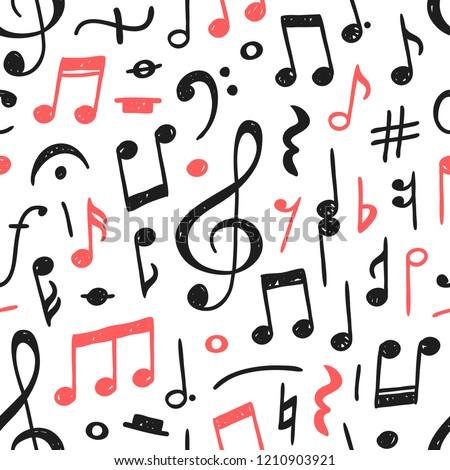 Hand Drawn Music Notes Illustration Doodle Stock Vektorgrafik