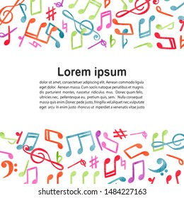 Hand drawn music notes ornament border isolated on white background. Vector musical illustration.