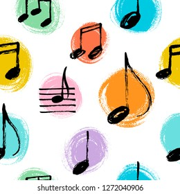 Hand drawn music notes seamless pattern. Vector doodle illustration.