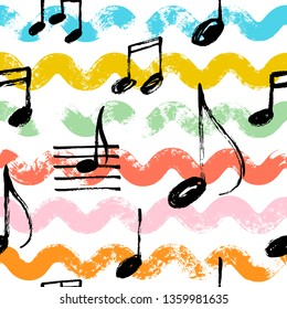 Hand drawn music notes seamless pattern with waves. Vector doodle illustration.
