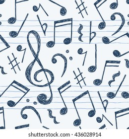 Hand drawn music notes seamless pattern background