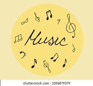 Hand drawn music notes set on color background. Sketch, vector illustration.