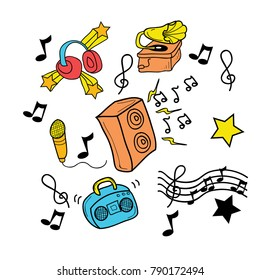 Hand drawn music ornament and object cartoon doodle