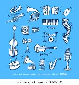 Hand drawn Music poster illustration - vector