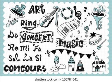 Hand drawn music set