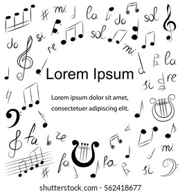 Hand Drawn Music Symbols.  Doodle Drawings of Treble Clef, Bass Clef, Notes and Lyre. Sketch Style Vector Illustration.