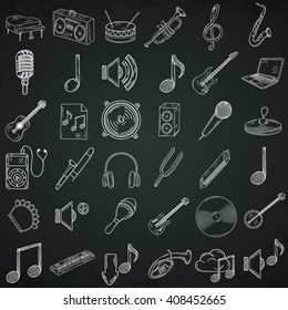 Hand drawn musical instruments icons set.