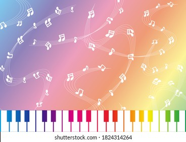 hand drawn musical note background and piano kyeboard