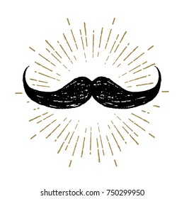 Hand drawn mustache textured vector illustration.