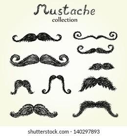 Hand drawn mustaches set eps8