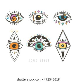 hand drawn mystic eyes; vector illustration with esoteric symbols with eyes
