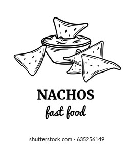 Hand drawn nachos icon. Vector badge fast food sketch style for brochures, banner, restaurant menu and cafe