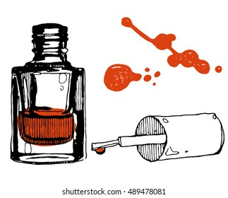 Hand drawn nail polish bottle. Fashion illustration. Beauty sketching. Vector illustration