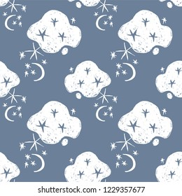 Hand drawn naive night sky abstract seamless pattern. Moons, stars, clouds, space vector background.