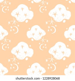 Hand drawn naive nigth sky abstract seamless pattern. Moons, stars, clouds, space vector background.