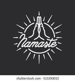 Hand drawn namaste sign. Hello in hindi. Hand crafted lettering isolated on white background. Motivational positive quote. Yoga center emblem. Vector vintage illustration.
