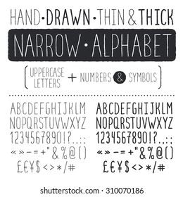 Hand drawn narrow alphabet. Uppercase tall and thin letters and symbols. Handdrawn sans serif font. Narrow doodle font.  Hipster capital letters. Light and bold condensed type.