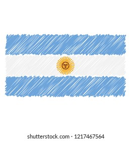 Hand Drawn National Flag Of Argentina Isolated On A White Background. Vector Sketch Style Illustration. Unique Pattern Design For Brochures, Printed Materials, Logos, Independence Day