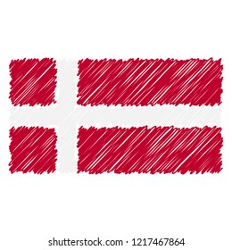 Hand Drawn National Flag Of Denmark Isolated On A White Background. Vector Sketch Style Illustration. Unique Pattern Design For Brochures, Printed Materials, Logos, Independence Day