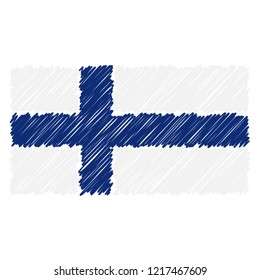 Hand Drawn National Flag Of Finland Isolated On A White Background. Vector Sketch Style Illustration. Unique Pattern Design For Brochures, Printed Materials, Logos, Independence Day