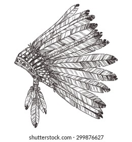 Hand Drawn Native American Indian Headdress In Profile. Vector Monochrome Illustration Of Indian Tribal Chief Feather Hat Side View