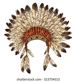 Hand Drawn Native American Indian Headdress. Vector Color Illustration Of  Indian Tribal Chief Feather Hat 310b3cc47a2