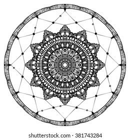 Hand drawn Native American Indian talisman dreamcatcher with feathers and moon. Vector hipster illustration isolated on white. Ethnic design, boho chic, tribal symbol. Coloring book for adults.