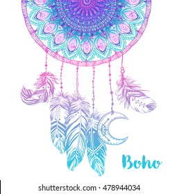 Hand drawn Native American Indian talisman dream catcher with mandala round pattern, feathers, moon. Vector hipster illustration isolated on white. Ethnic design, boho, dreamcatcher tribal symbol.