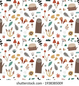 Hand drawn nature elements seamless pattern. Scandinavian style woodland plants, flowers, herb, tree stumps, mushrooms. Forest meadow vector background. Cartoon botanical wrapping paper print design