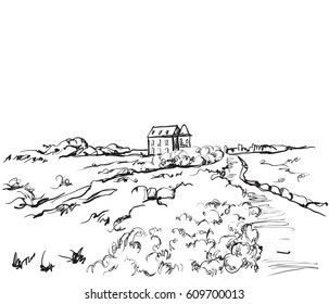 Hand drawn nature landscape illustrations. Fields sketch