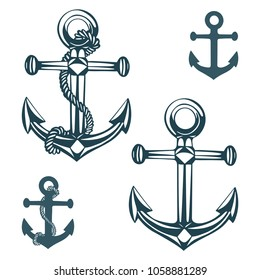 Hand drawn nautical anchor isolated on white background.  Ship anchor, vintage logo. Anchor icon, vector illustration.